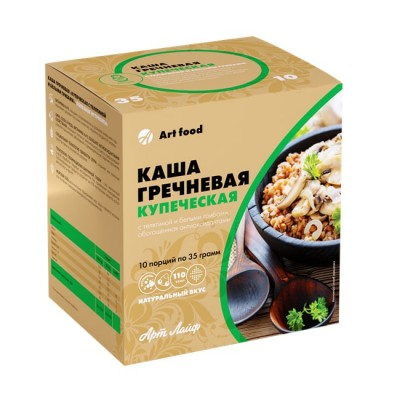Каша гречневая «Купеческая с телятиной и белыми грибами», 10 порций по 35 г